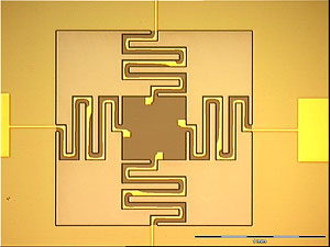 Piezoelectric flexure-actuated MEMS with four self-actuating serpentines.